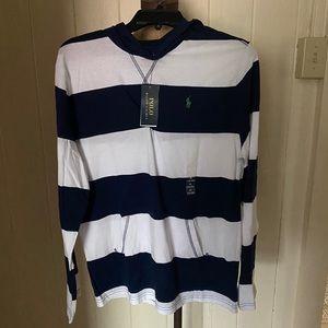 POLO Boys sz XL 18-20 Striped Cotton Hooded Tee
